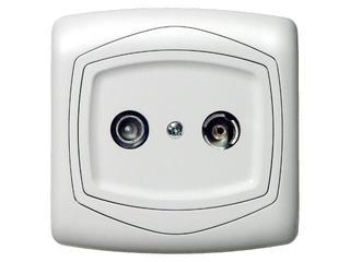 Gniazdo ścienne TON RTV końcowe ZAR 2,5-3 dB biały Ospel