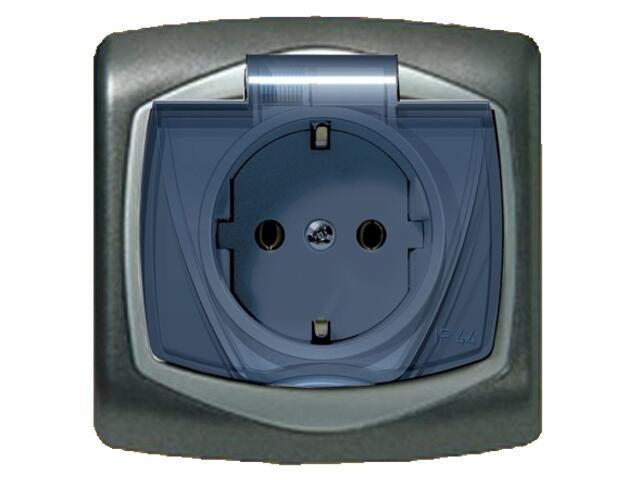 Gniazdo ścienne TON METALIC z/u schuko IP-44 klap. przez. grafit srebro Ospel