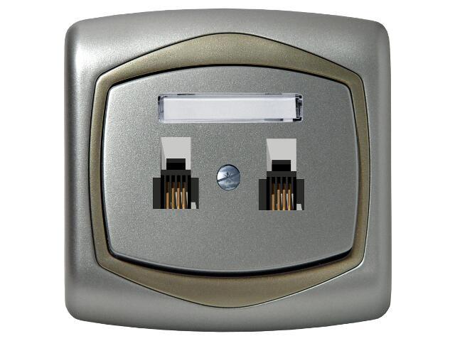 Gniazdo ścienne TON METALIC telef. podwójne niezależne srebro satyna Ospel