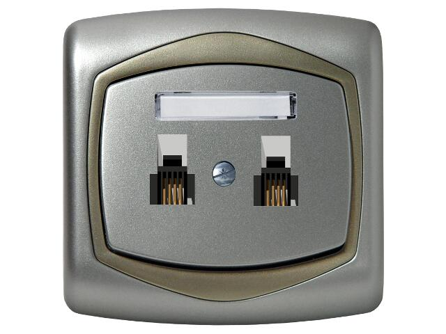 Gniazdo ścienne TON METALIC telef. podwójne równoległe srebro satyna Ospel