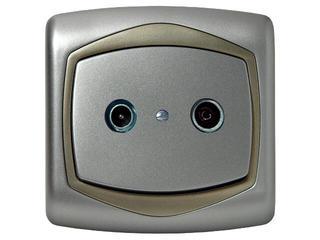 Gniazdo ścienne TON METALIC RTV przelotowe 14 dB srebro satyna Ospel