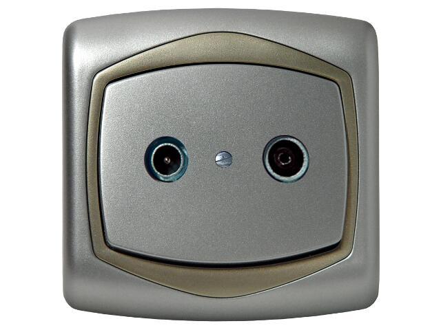 Gniazdo ścienne TON METALIC RTV przelotowe 16 dB srebro satyna Ospel