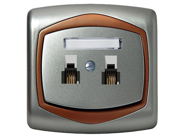 Gniazdo ścienne TON METALIC telef. podwójne niezależne srebro miedź Ospel