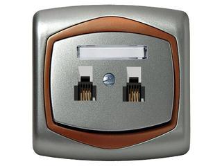 Gniazdo ścienne TON METALIC telef. podwójne równoległe srebro miedź Ospel