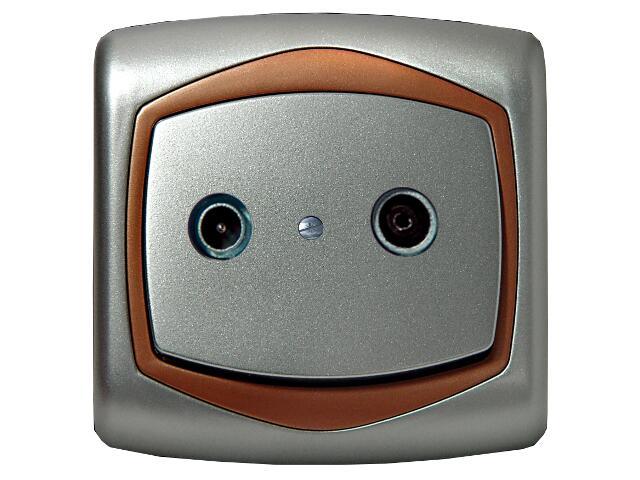 Gniazdo ścienne TON METALIC RTV przelotowe 14 dB srebro miedź Ospel