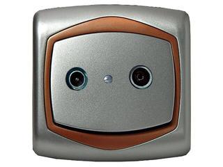 Gniazdo ścienne TON METALIC RTV przelotowe 16 dB srebro miedź Ospel