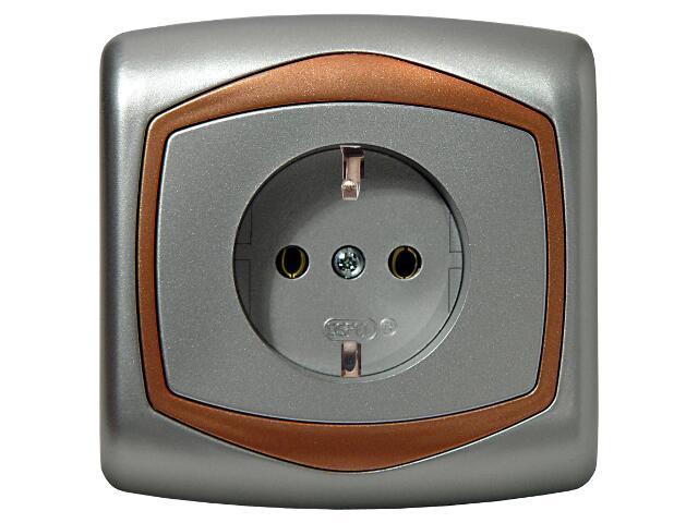 Gniazdo ścienne TON METALIC pojedyncze z/u schuko z przesłonami srebro miedź Ospel