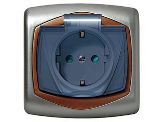 Gniazdo ścienne TON METALIC z/u schuko IP-44 klap. przez. z przesłonami srebro miedź Ospel