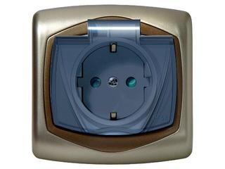 Gniazdo ścienne TON METALIC z/u schuko IP-44 klap. przez. z przesłonami satyna złoto Ospel