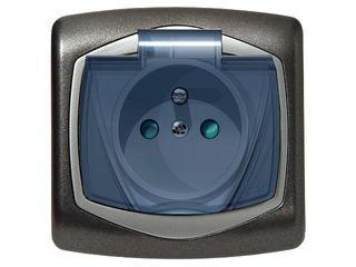 Gniazdo ścienne TON METALIC z/u IP-44 klap. przez. z przesłonami grafit srebro Ospel