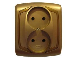 Gniazdo ścienne TON METALIC podwójne z przesłonami satyna złoto Ospel