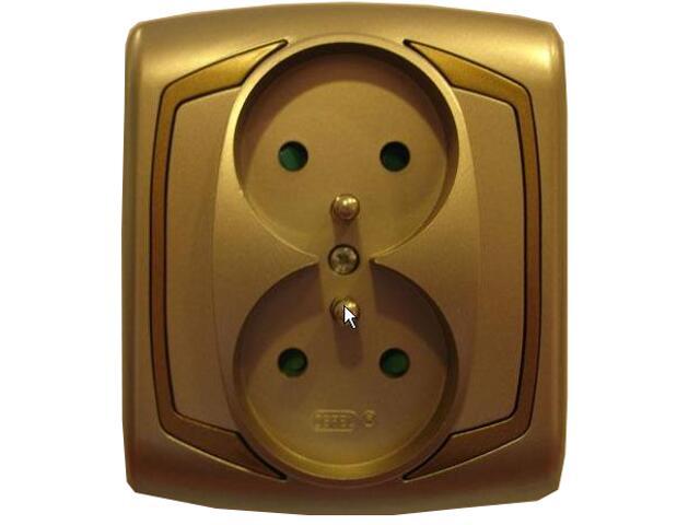 Gniazdo ścienne TON METALIC podwójne z/u z przesłonami satyna złoto Ospel