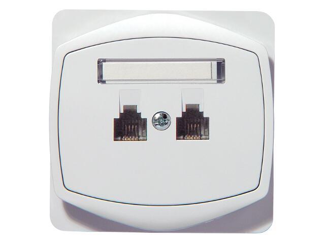 Gniazdo ścienne TON COLOR SYSTEM telef. podwójne równoległe biały Ospel