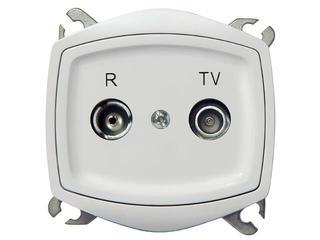 Gniazdo ścienne TON COLOR SYSTEM RTV przelotowe GAP-10 dB biały Ospel