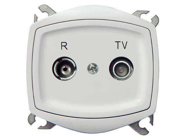 Gniazdo ścienne TON COLOR SYSTEM RTV przelotowe GAP-14 dB biały Ospel