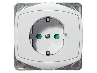 Gniazdo ścienne TON COLOR SYSTEM pojedyncze z/u schuko z przesłonami biały Ospel