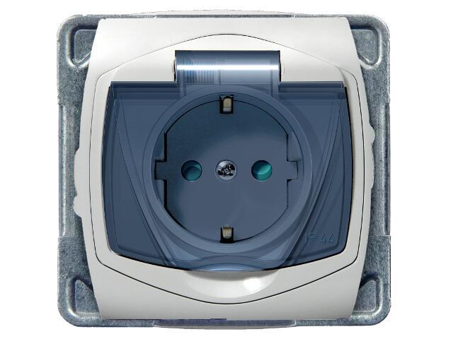Gniazdo ścienne TON COLOR SYSTEM z/u schuko IP-44 klap.przez. z przesłonami biały Ospel