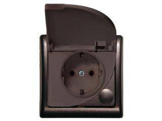 Gniazdo ścienne EFEKT METALIC z/u schuko IP-44 grafit Ospel