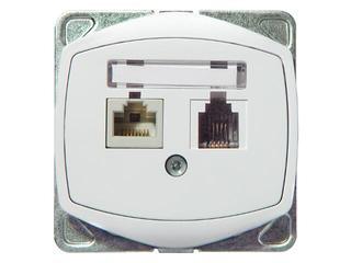 Gniazdo ścienne TON COLOR SYSTEM komp-telef. RJ45/RJ11 kat.5e KRONE biały Ospel