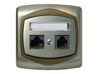 Gniazdo ścienne TON METALIC komp-telef. RJ45/RJ11 kat.5e KRONE satyna złoto Ospel