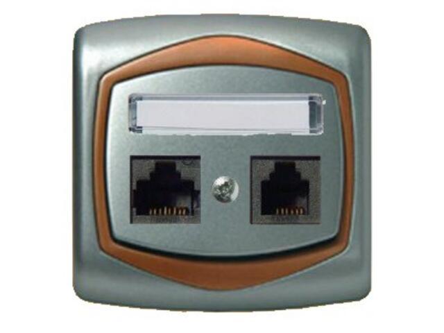 Gniazdo ścienne TON METALIC komp-telef. RJ45/RJ11 kat.5e KRONE srebro miedź Ospel