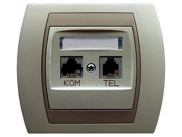 Gniazdo ścienne GAZELA METALIC komp-telef. RJ45/RJ11 kat.5e KRONE srebro tytan Ospel