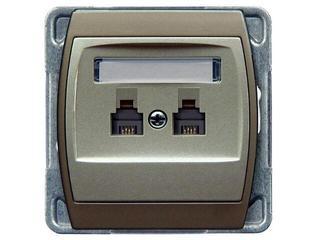 Gniazdo modułowe GAZELA METALIC telef. podwójne równoległe srebro tytan Ospel