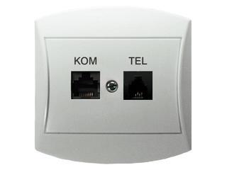 Gniazdo ścienne TOP komp-telef. RJ45/RJ11 biały Ospel
