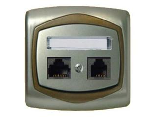 Gniazdo ścienne TON METALIC komp-telef. RJ45/RJ11 satyna złoto Ospel