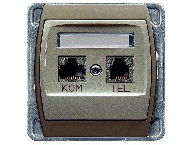 Gniazdo modułowe GAZELA METALIC komp-telef. RJ45/RJ11 srebro tytan Ospel
