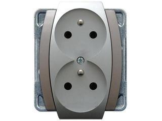 Gniazdo ścienne modułowe GAZELA METALIC podwójne z/u z niezmiennością faz srebro tytan Ospel