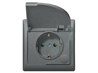 Gniazdo ścienne EFEKT METALIC z/u schuko IP-44 z przesłonami grafit Ospel