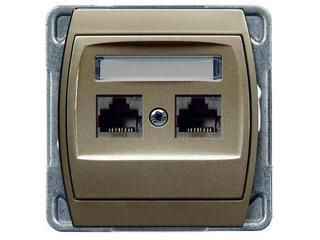 Gniazdo modułowe GAZELA METALIC komp. podwójne kat.6 KRONE ekran. satyna Ospel