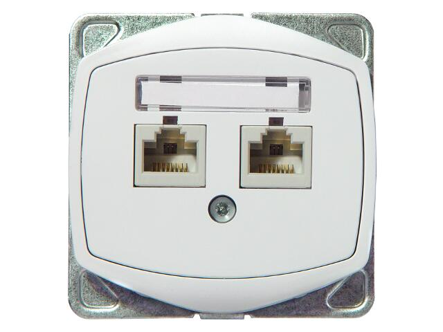Gniazdo ścienne TON COLOR SYSTEM komp. podwójne kat.6 KRONE ekranowane biały Ospel