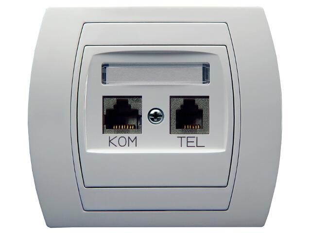 Gniazdo ścienne GAZELA komp-telef. kat.6 KRONE ekranowane biały Ospel