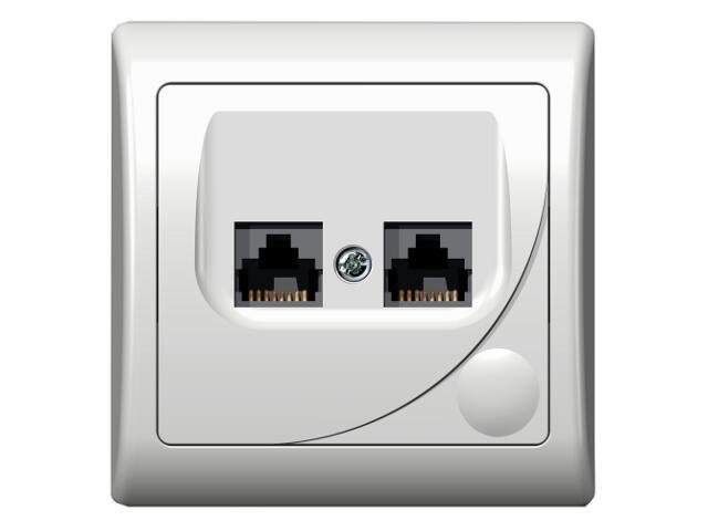 Gniazdo ścienne EFEKT komp. podwójne ekranowane biały Ospel