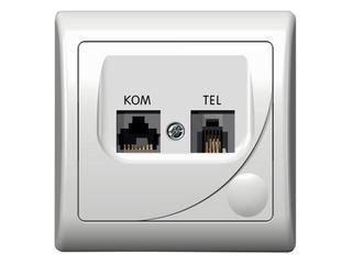 Gniazdo ścienne EFEKT komp-telef. ekranowane biały Ospel