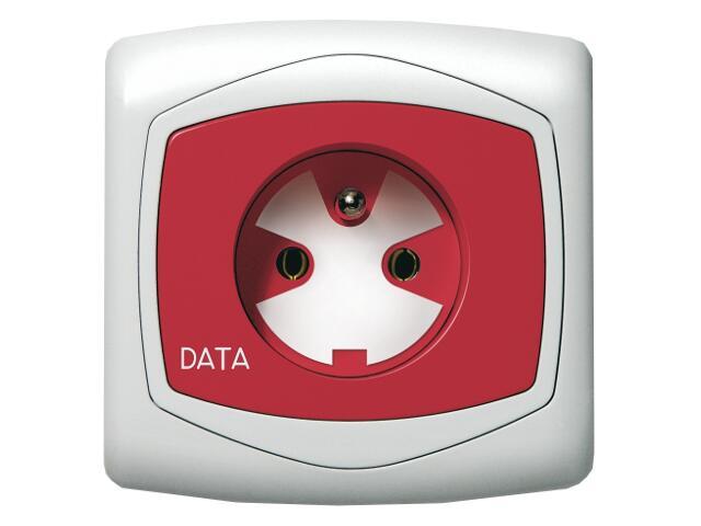 Gniazdo ścienne TON pojedyncze z/u DATA z kluczem biały Ospel