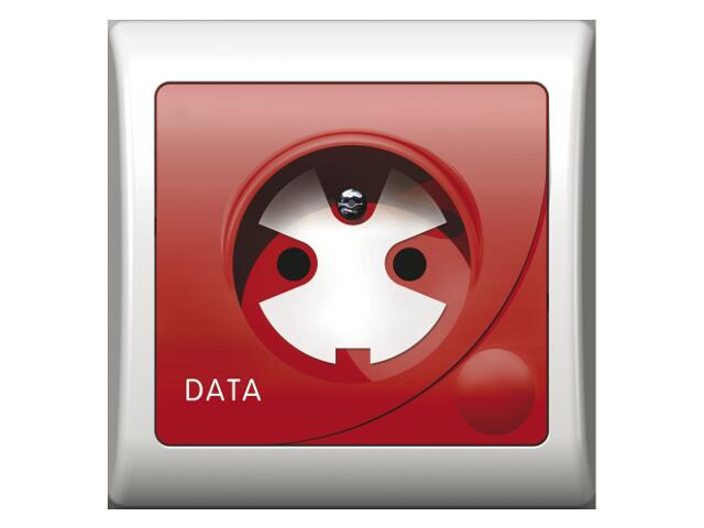 Gniazdo ścienne EFEKT pojedyncze z/u DATA z kluczem biały Ospel