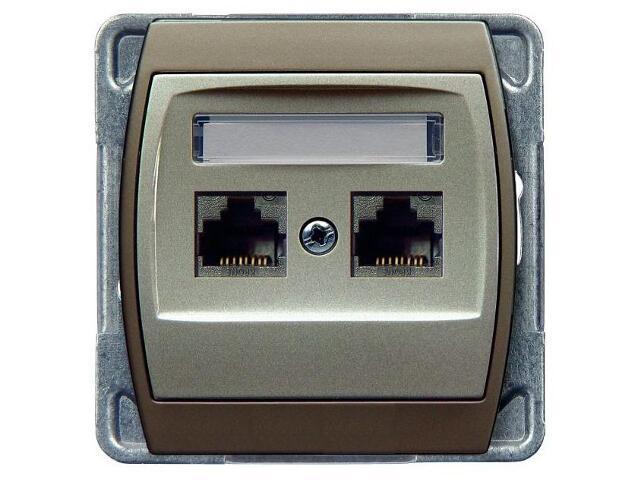 Gniazdo modułowe GAZELA METALIC komp. podwójne kat.6 KRONE ekran. srebro tytan Ospel