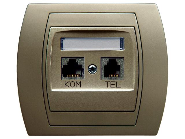 Gniazdo ścienne GAZELA METALIC komp-telef. kat.6 KRONE ekranowane satyna Ospel