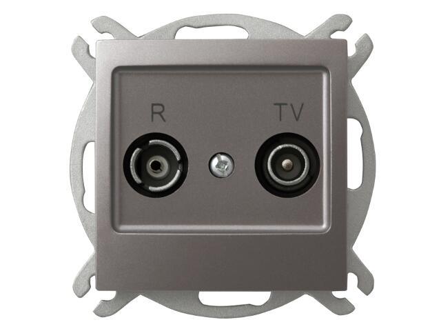 Gniazdo modułowe IMPRESJA RTV przelotowe 16 dB tytan Ospel
