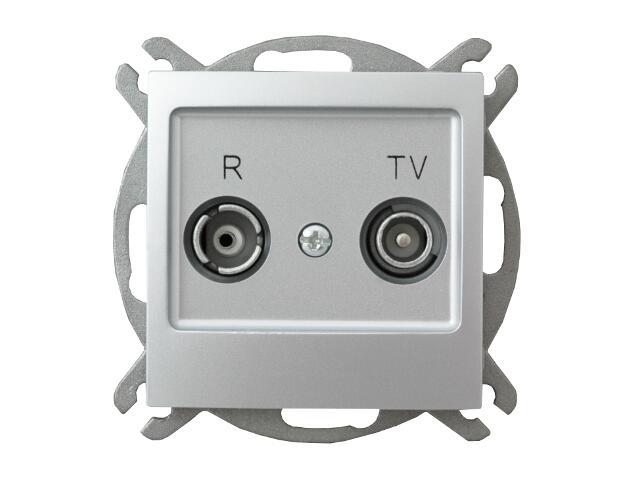 Gniazdo modułowe IMPRESJA RTV przelotowe 10 dB srebro Ospel