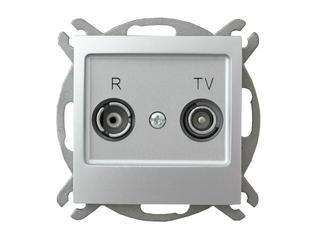 Gniazdo modułowe IMPRESJA RTV przelotowe 16 dB srebro Ospel