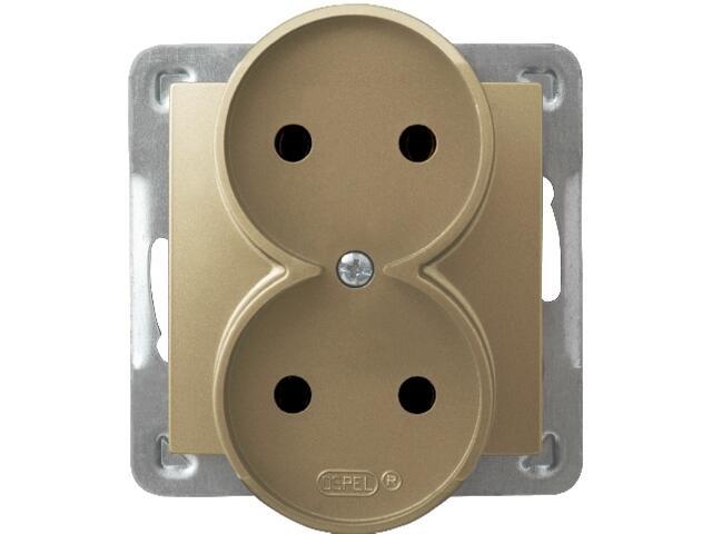 Gniazdo ścienne modułowe IMPRESJA podwójne do montażu w ramki złoty metalik Ospel