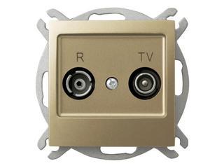 Gniazdo modułowe IMPRESJA RTV przelotowe 16 dB złoty metalik Ospel