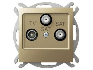 Gniazdo modułowe IMPRESJA RTV-SAT z dwoma wyjściami SAT złoty metalik Ospel