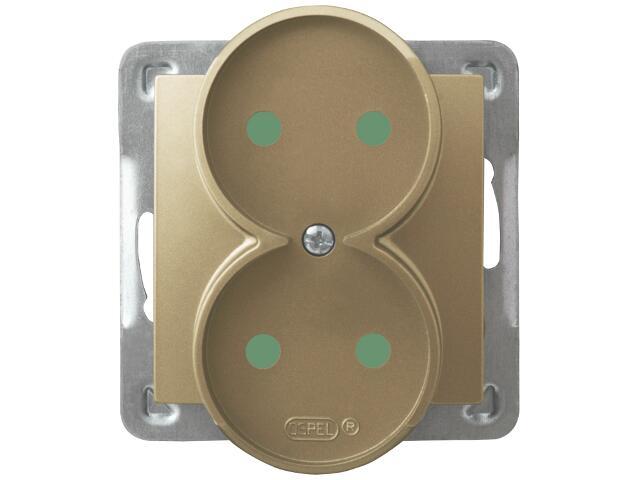 Gniazdo ścienne modułowe IMPRESJA podwójne do montażu w ramki z przesłonami złoty metalik Ospel