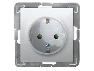Gniazdo ścienne modułowe IMPRESJA pojedyncze schuko z przesłonami srebro Ospel
