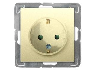 Gniazdo ścienne modułowe IMPRESJA pojedyncze schuko z przesłonami złoty metalik Ospel